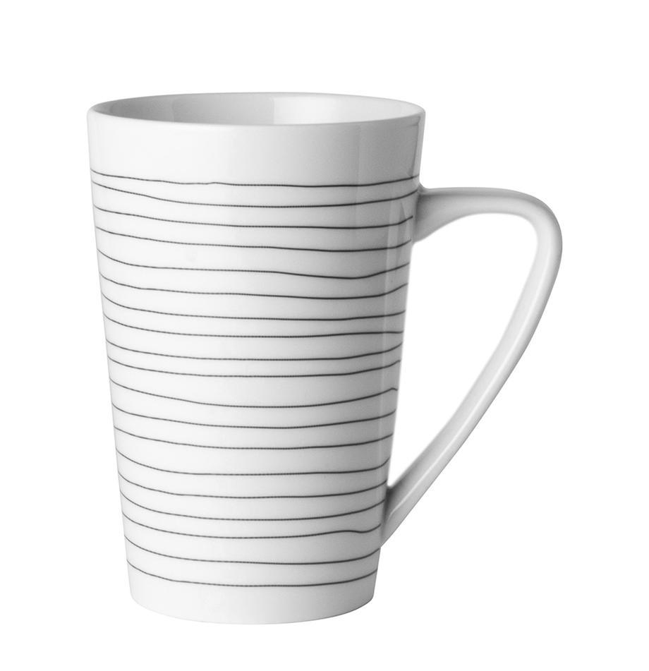 Kubek XL Eris Loft, 4 szt., Porcelana, Biały, czarny, Ø 9 x W 13 cm