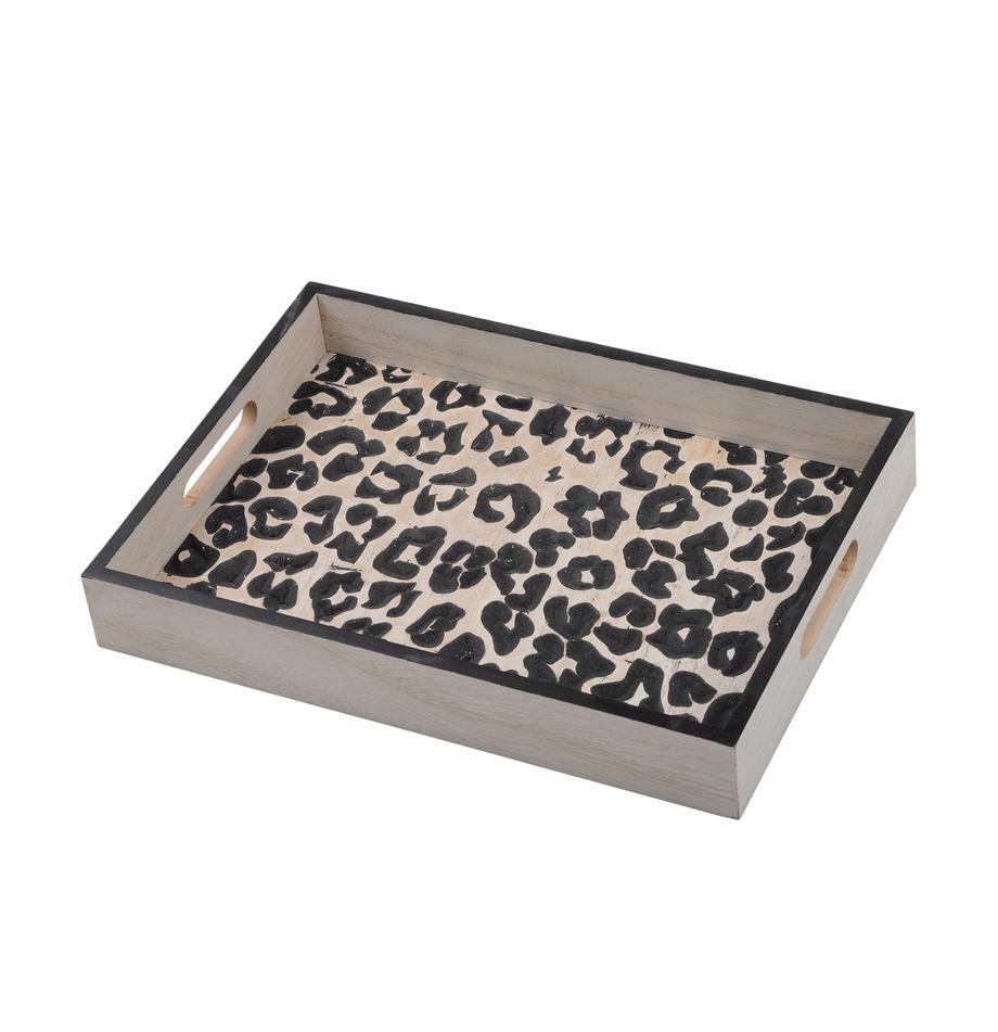 Taca z drewna Leopard, Płyta pilśniowa (MDF), Beżowy, czarny, S 35 x G 25 cm