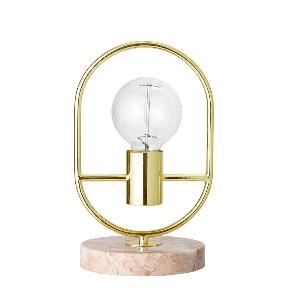 Kleine tafellamp Emilia van marmer en metaal, Lampvoet: marmer, Roze, Ø 17 x H 30 cm