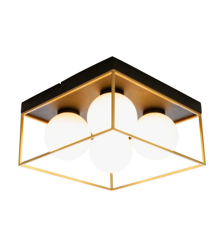 Moderne Deckenleuchte Astro aus Opalglas, Lampenschirm: Opalglas, Baldachin: Metall, beschichtet, Goldfarben, Schwarz, Weiss, 28 x 15 cm