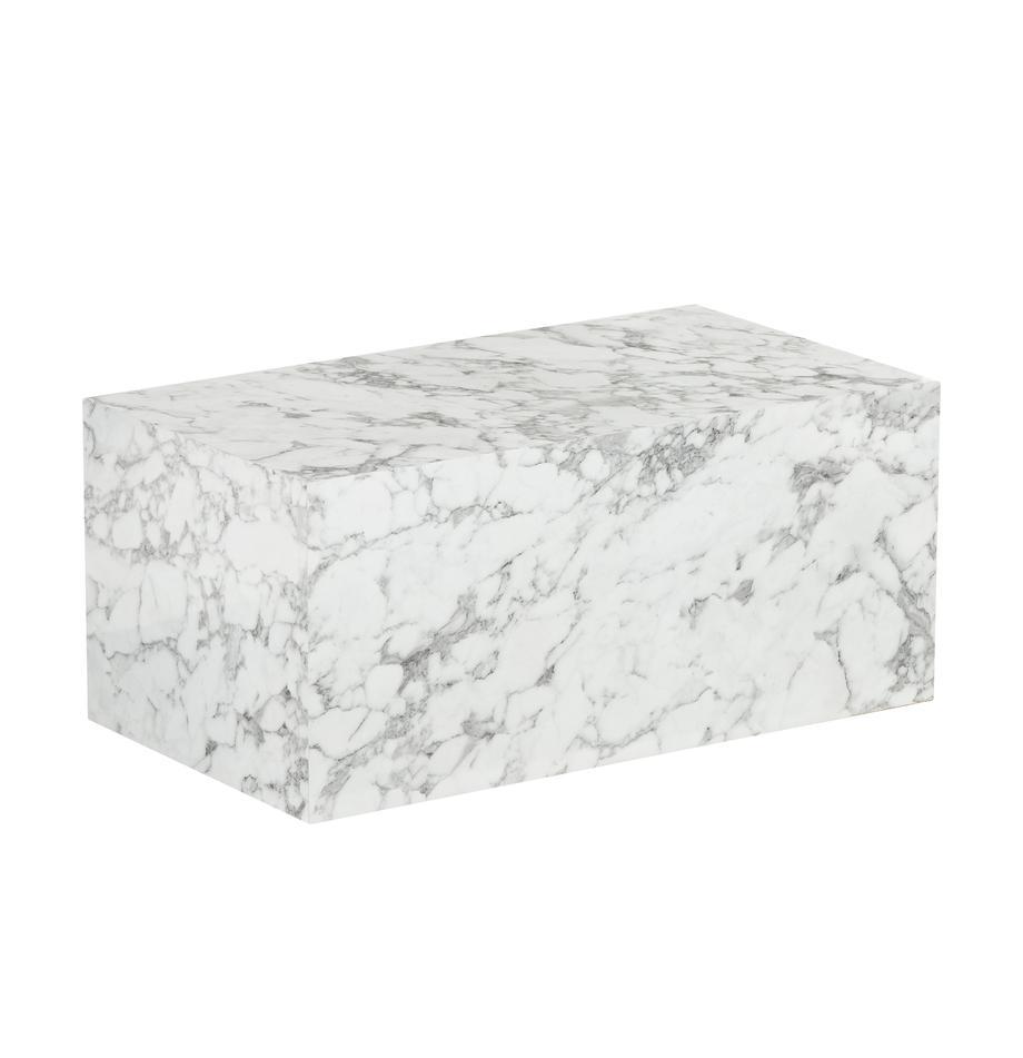 Couchtisch Lesley in Marmor-Optik, Mitteldichte Holzfaserplatte (MDF), mit Melaminfolie überzogen, Weiss, marmoriert, 90 x 40 cm