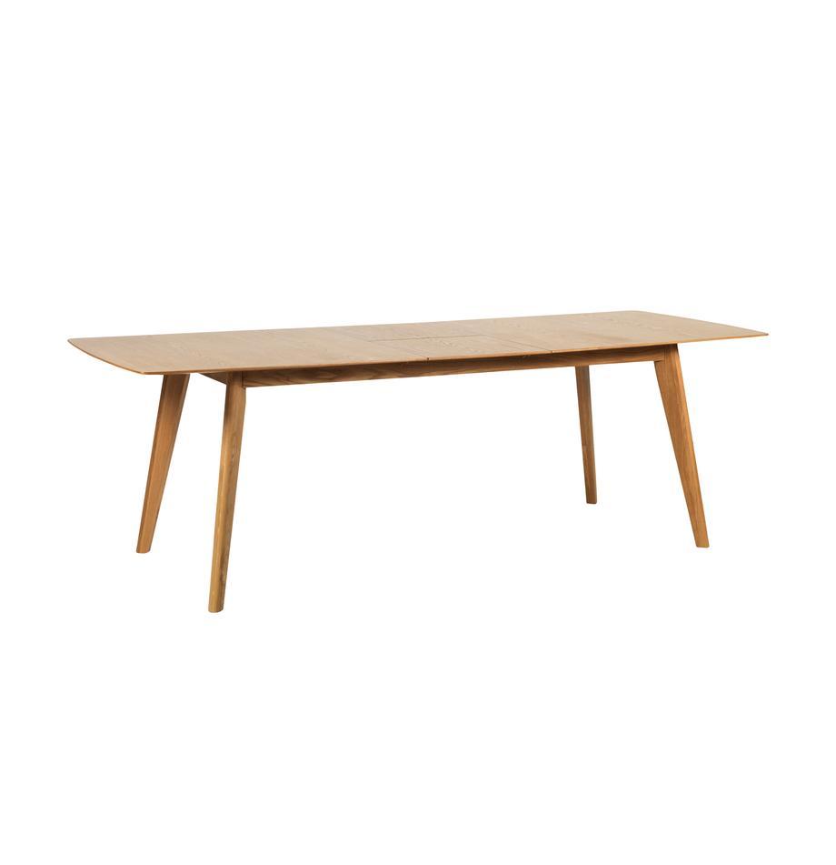 Tavolo allungabile con finitura in quercia Cirrus, Piano d'appoggio: pannello di fibra a media, Gambe: legno di quercia laccato , Legno di quercia opaco, Larg. 190 a 235 x Prof. 90 cm