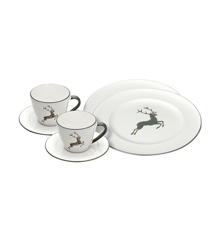 Ręcznie wykonany serwis do kawy Gourmet Grauer Hirsch, 6 elem., Ceramika, Szary, biały, Komplet z różnymi rozmiarami