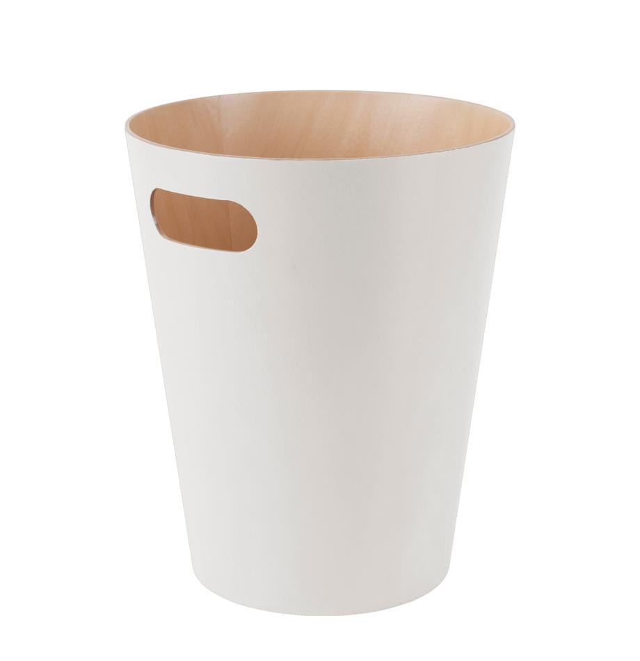 XS papiermand Woodrow Can, Gelakt hout, Crèmekleurig, Ø 23 x H 28 cm