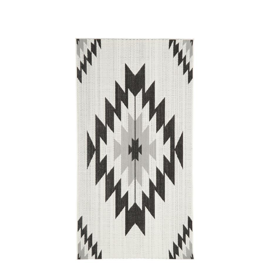 In- & Outdoor-Teppich Ikat mit Ethno Muster, 86% Polypropylen, 14% Polyester, Cremeweiss, Schwarz, Grau, B 80 x L 150 cm (Grösse XS)
