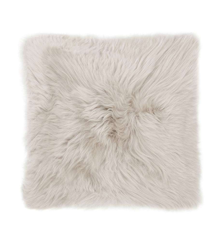 Kussenhoes van schapenvacht Oslo, glad, Voorzijde: beige. Achterzijde: lichtgrijs, 40 x 40 cm