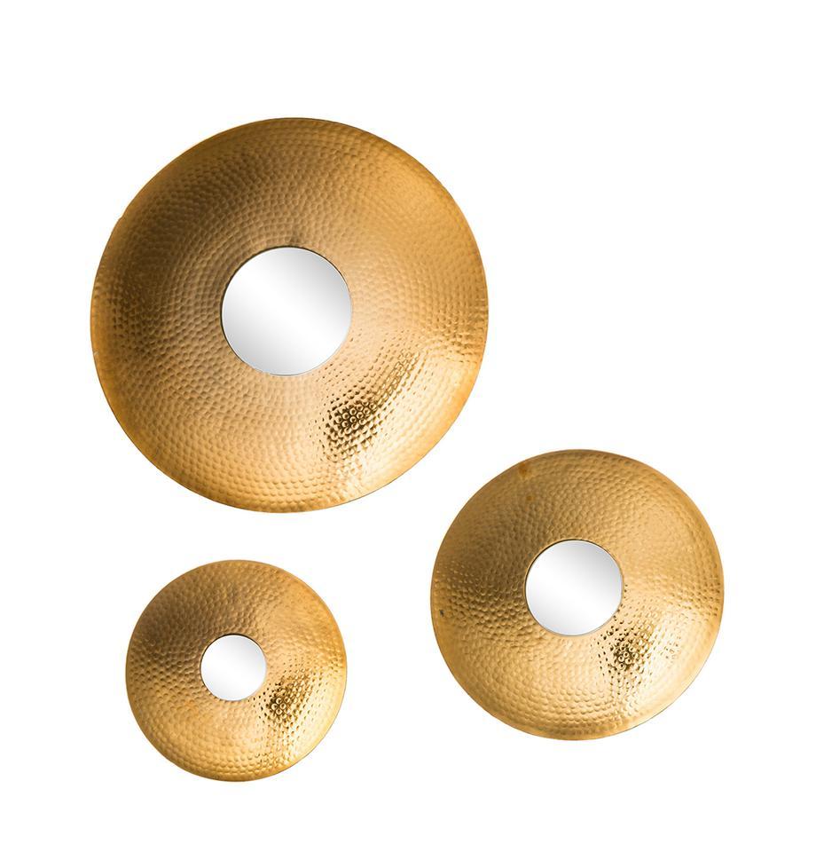 Komplet luster ściennych Eyes, 3 elem., Odcienie złotego, Komplet z różnymi rozmiarami