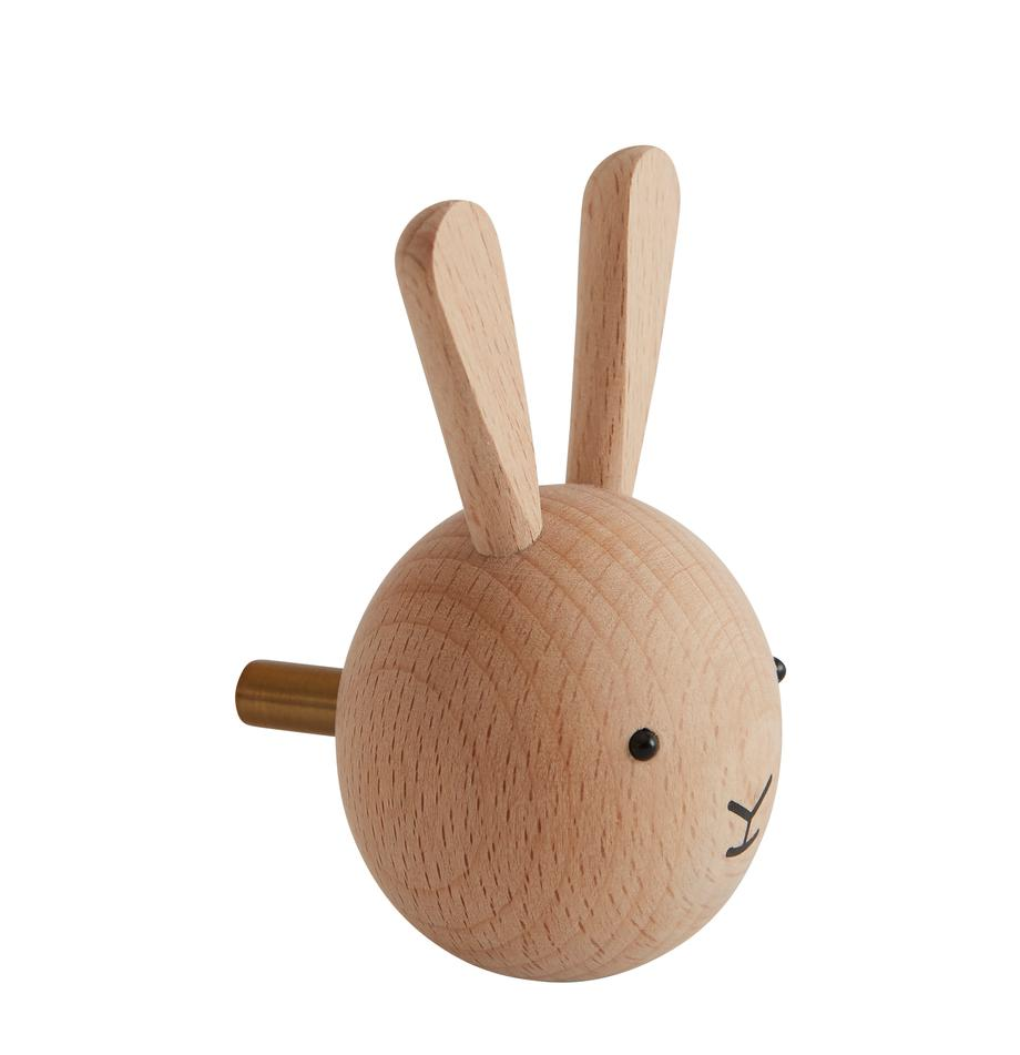 Wandhaak Rabbit van beukenhout, Beukenhout, Houtkleurig, zwart, 5 x 8 cm