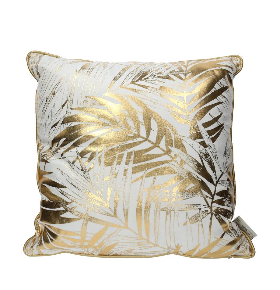 Fluwelen kussen Leafs met goudkleurig bladerenprint, met vulling, Wit, goudkleurig, 45 x 45 cm