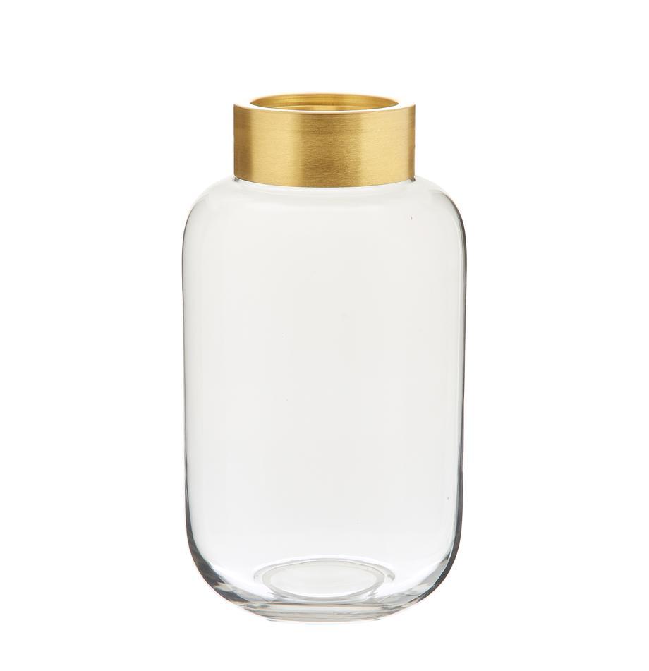 Vaso in vetro e metallo Lori, Vaso: vetro, Vaso: trasparente Estremità: dorato opaco, Ø 16 x Alt. 29 cm