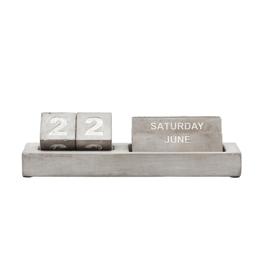 Kalender Eternety, Beton, Grau, Weiß, 21 x 6 cm
