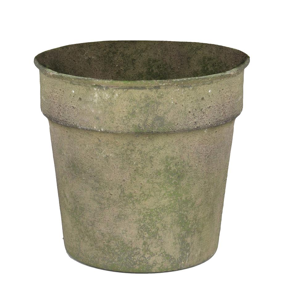 Übertopf Antique, Stahl, beschichtet, Grün, Beige, Ø 13 x H 11 cm