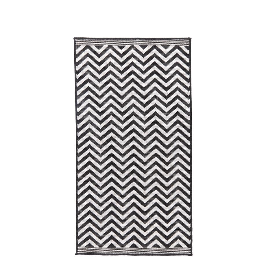 Tappeto reversibile da interno-esterno con motivo zigzag Palma, Nero, crema, Larg. 80 x Lung. 150 cm (taglia XS)