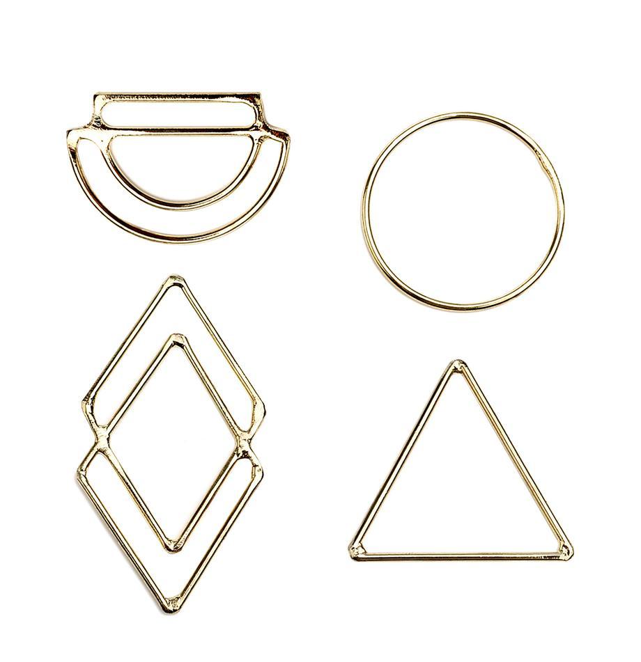 Geschenkanhänger-Set Ecora, 4-tlg., Metall, Goldfarben, 4 x 6 cm