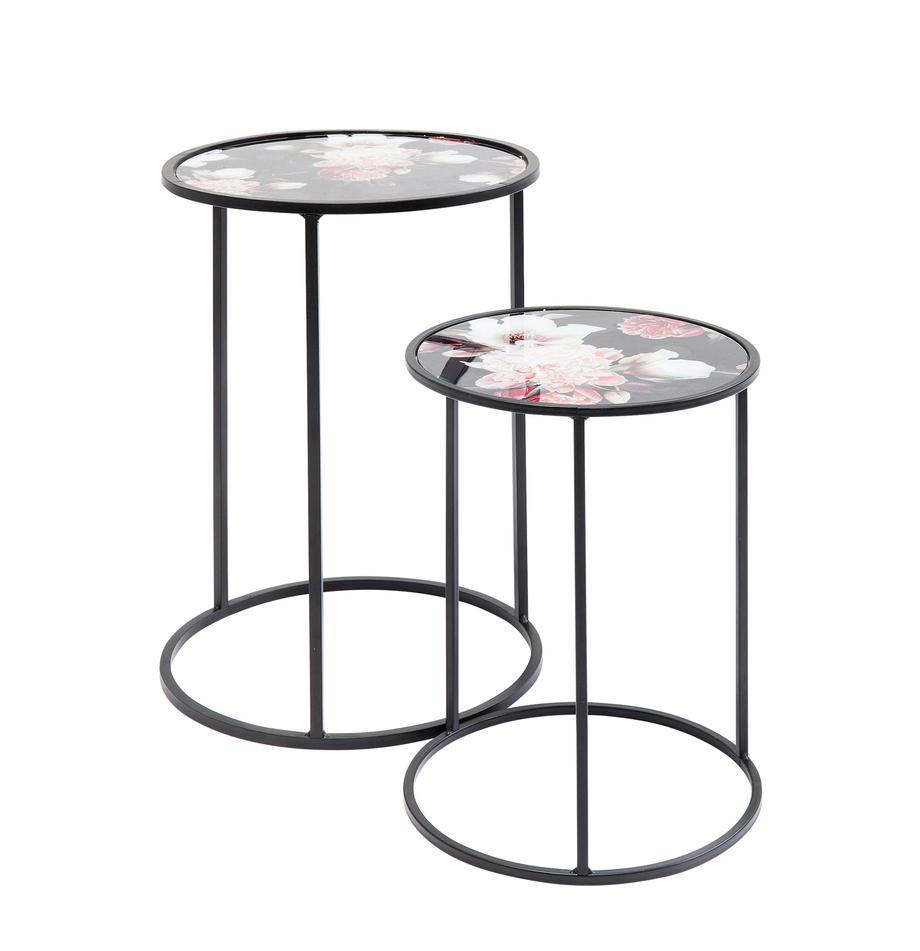 Set 2 tavolini rotondi con motivo floreale Peony, Piano d'appoggio: vetro temperato (ESG), co, Struttura: acciaio, verniciato a pol, Nero, Set in varie misure