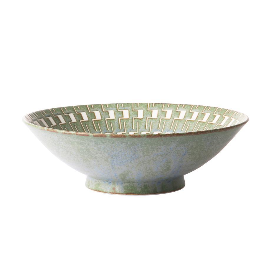 Saladeschaal Yunomi in Japanse stijl, Porselein, Groen, wit, Ø 25 x H 8 cm