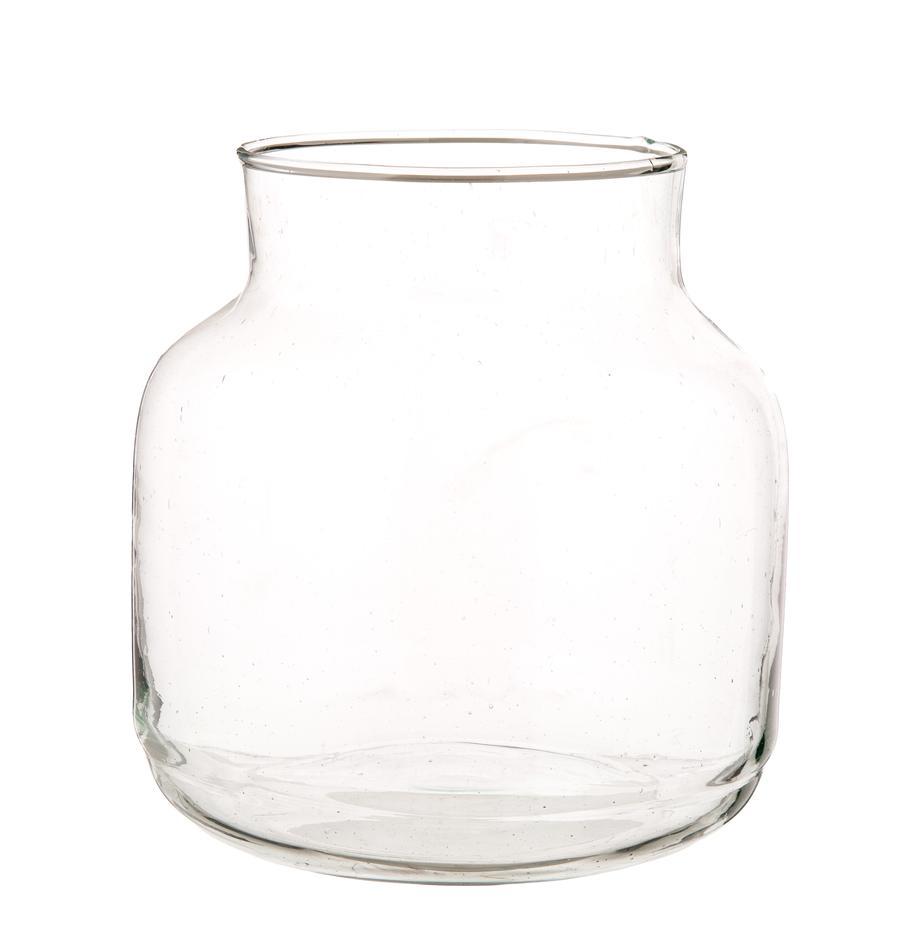 Jarrón de vidrio reciclado soplado Dona, Vidrio reciclado, Transparente, Ø 22 x Al 23 cm