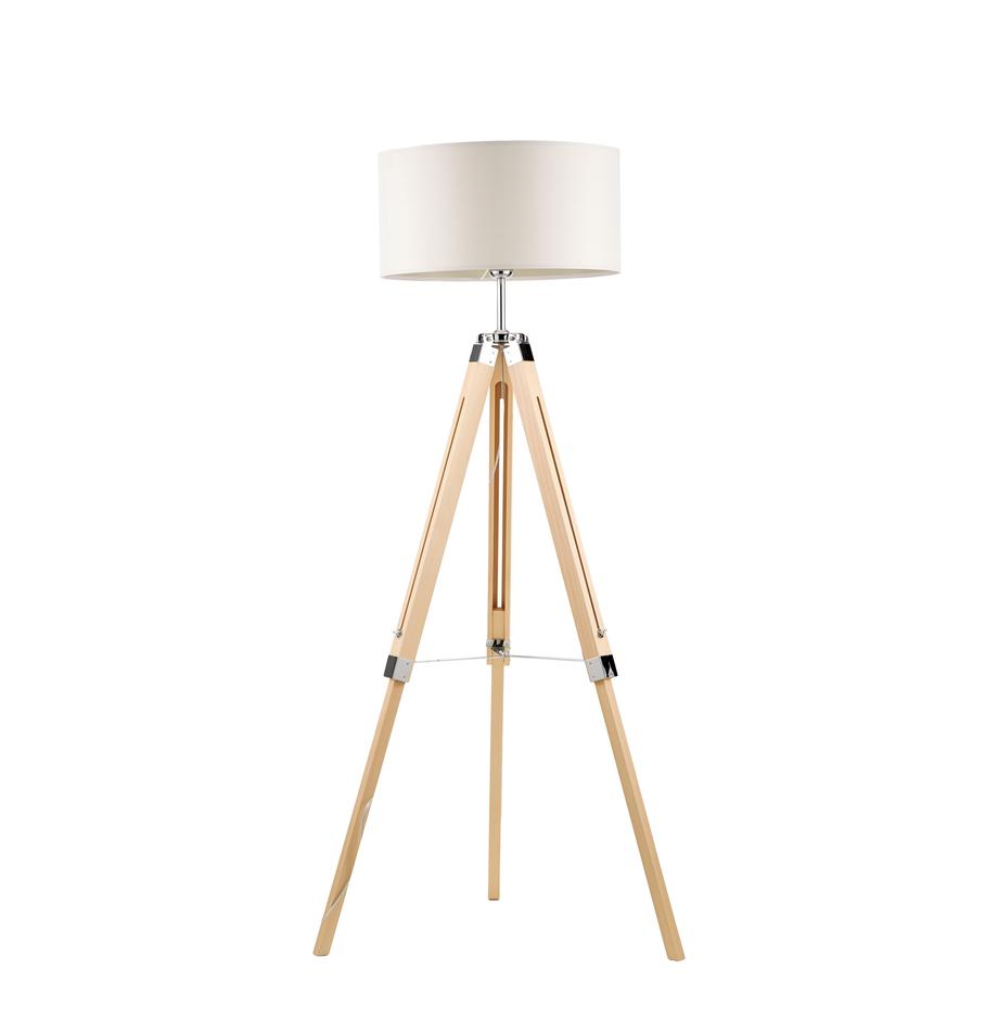 Lampada da terra in legno Lantada, Paralume: poliestere, Base della lampada: legno, Crema, marrone, Ø 70 x Alt. 150 cm