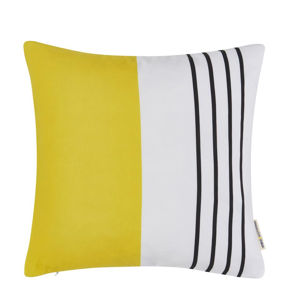 Poszewka na poduszkę Magdalena, 100% poliester, Biały, żółty, czarny, S 40 x D 40 cm