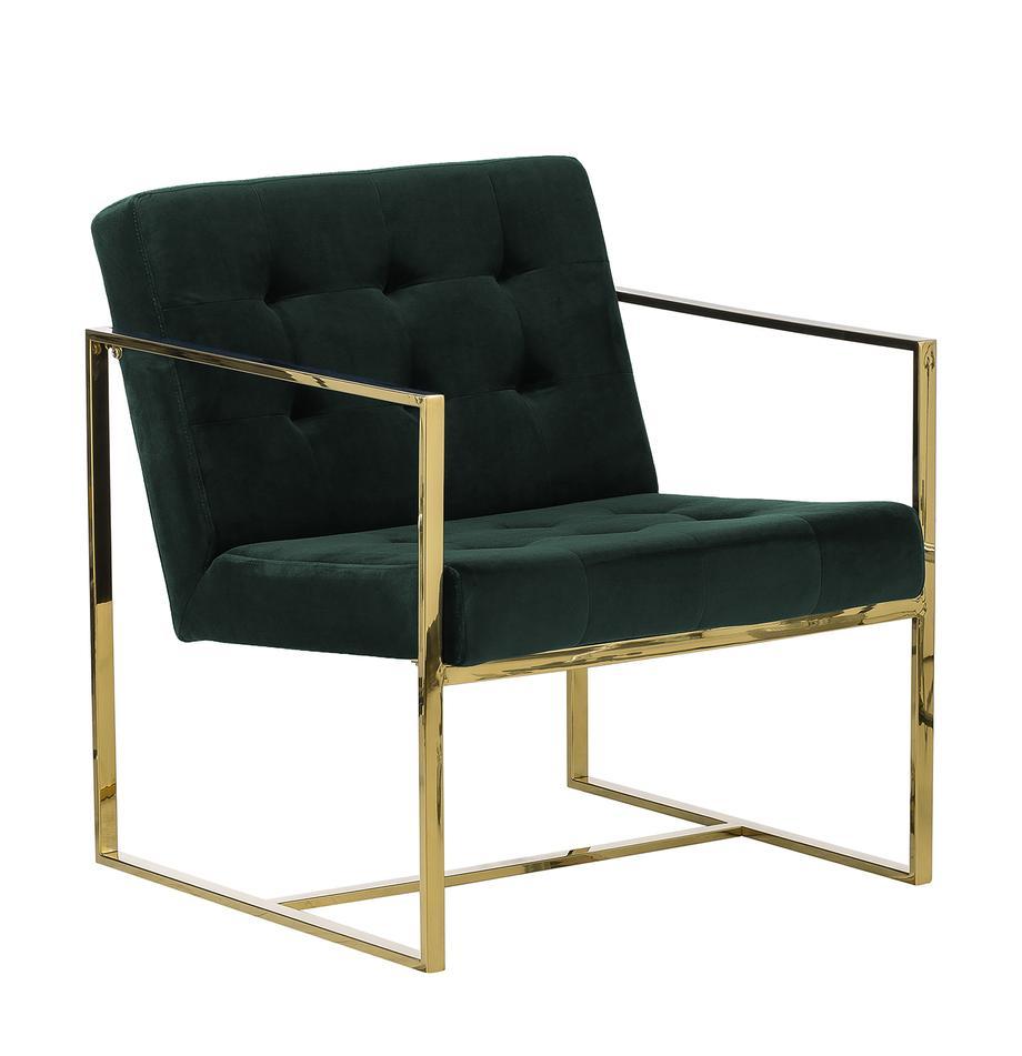 Sedia a poltrona in velluto verde Manhattan, Rivestimento: velluto (poliestere) Il r, Struttura: metallo rivestito, Velluto verde scuro, Larg. 70 x Prof. 72 cm