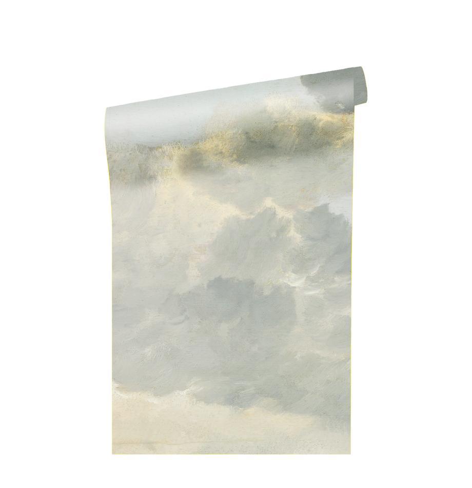 Fotomural Golden Age Clouds, Tejido no tejido, ecológica y biodegradable, Gris, beige mate, An 196 x Al 280 cm