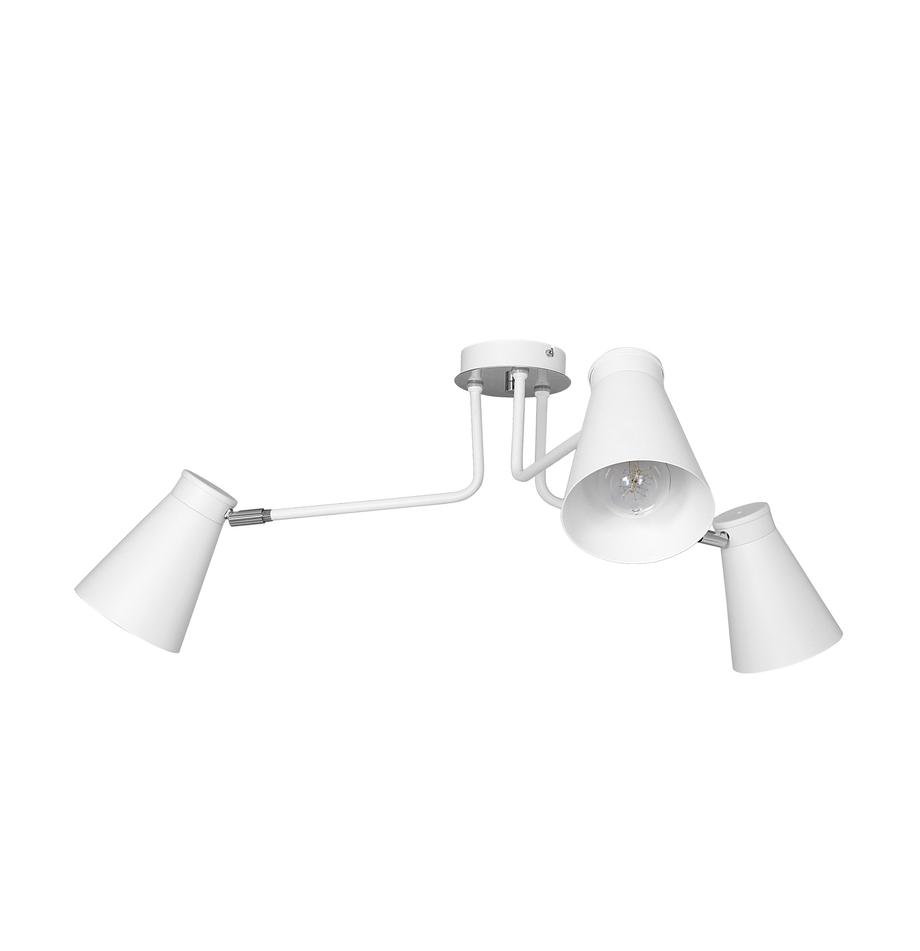 Plafondlamp Bevan in wit, Wit, chroom, Ø 84 x H 28 cm