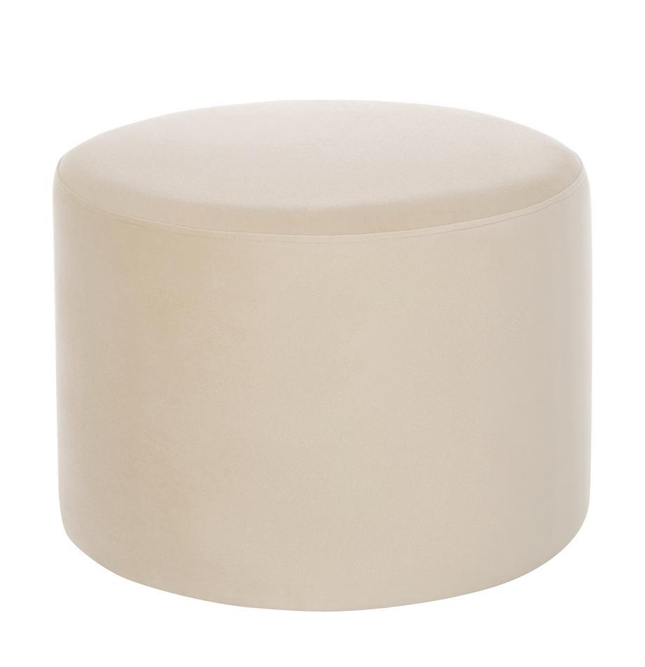 Pouf in velluto Daisy, Rivestimento: velluto (poliestere) 25.0, Struttura: fibra a media densità, Velluto beige, Ø 54 x Alt. 38 cm