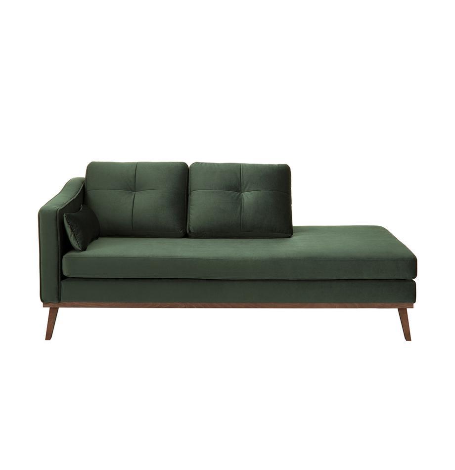 Fluwelen chaise longue Alva, Bekleding: fluweel (hoogwaardig poly, Frame: massief grenenhout, Poten: massief gebeitst beukenho, Olijfkleurig, B 193 x D 94 cm