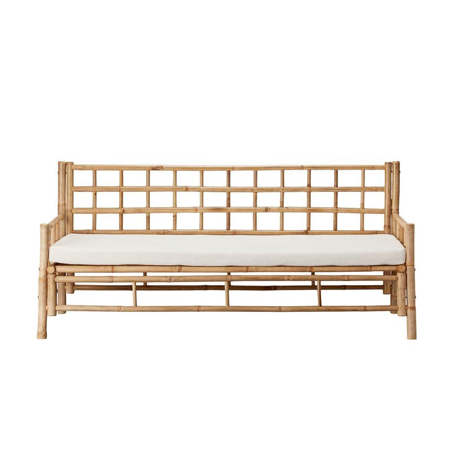 Sofá de bambú Mandisa (3plazas), Estructura: bambú sin tratar, Bambú, blanco, An 180 x F 70 cm
