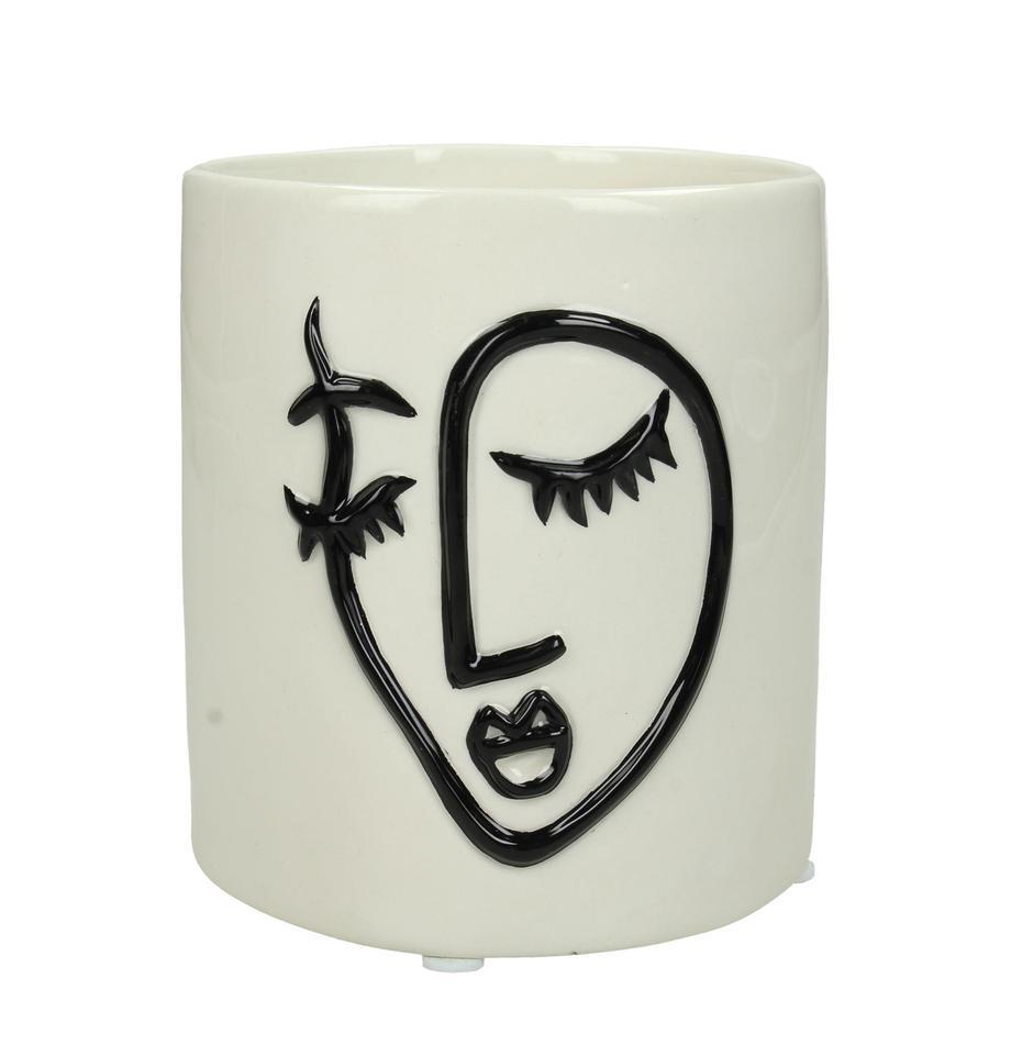 XS Übertopf Face aus Dolomitstein, Dolomit, Gebrochenes Weiß, Schwarz, Ø 12 x H 13 cm