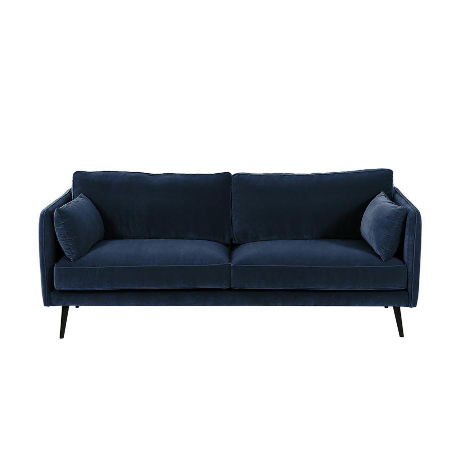 Samt-Sofa Paola (3-Sitzer), Bezug: Samt (Polyester) 70.000 S, Gestell: Massives Fichtenholz, Spa, Füße: Fichtenholz, lackiert, Samt Blau, 209 x 86 cm