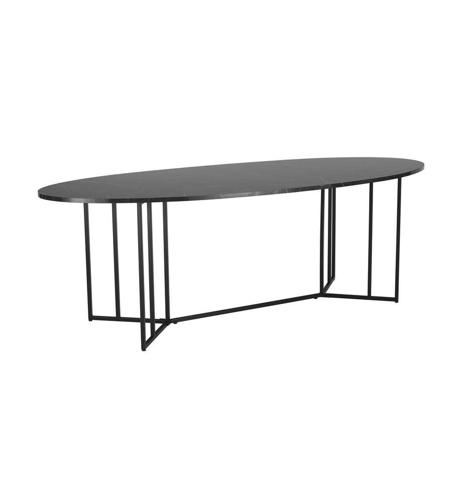 Ovaler Esstisch Luca in Marmor-Optik, Tischplatte: Mitteldichte Holzfaserpla, Gestell: Metall, pulverbeschichtet, Schwarz, 240 x 100 cm