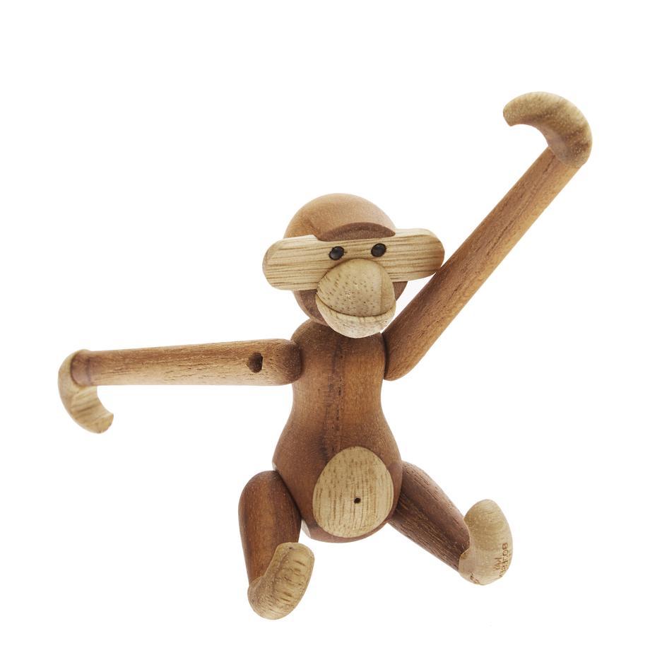 Figura decorativa de diseño Monkey, Madera de teca, madera de limba, barnizadas, Teca, limba, An 10 x Al 10 cm