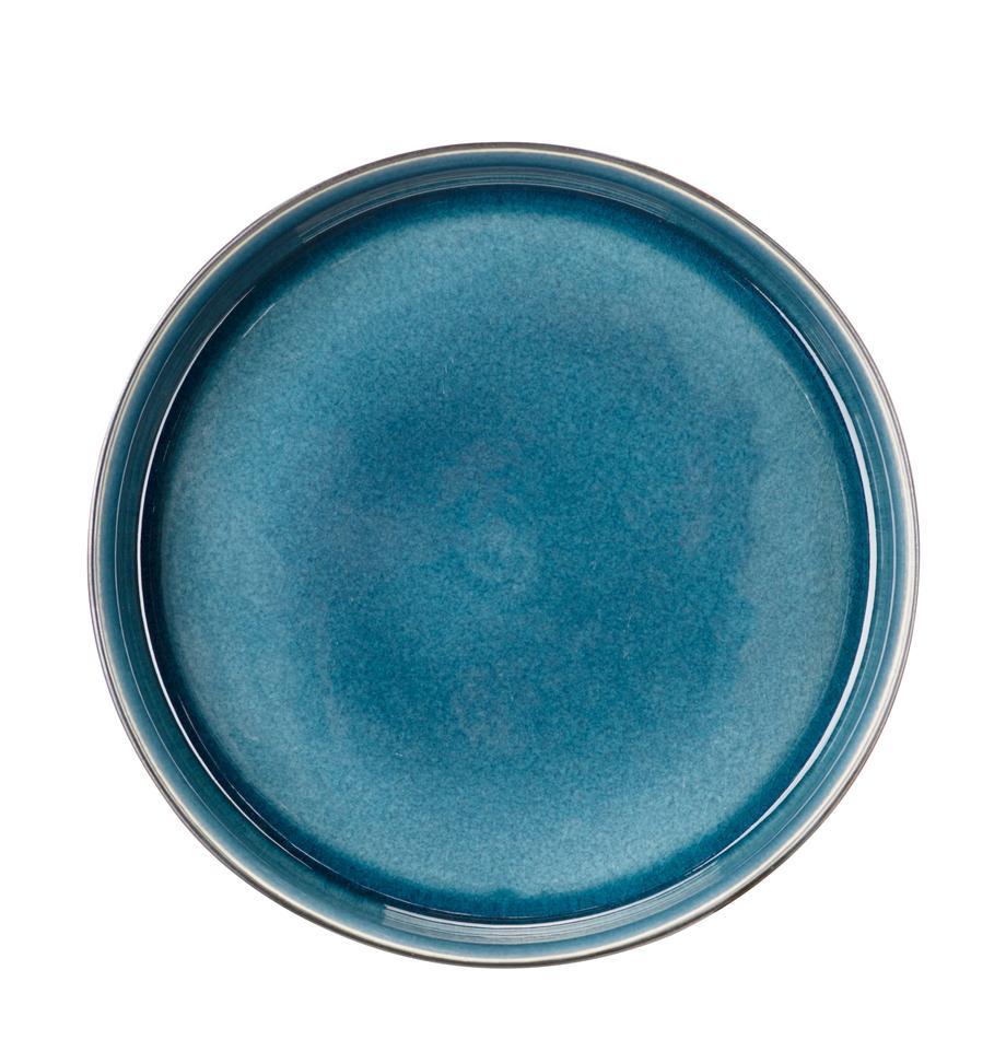 Handgemachte Suppenteller Quintana Blue mit Farbverlauf Blau/Braun, 2 Stück, Porzellan, Blau, Braun, Ø 23 cm