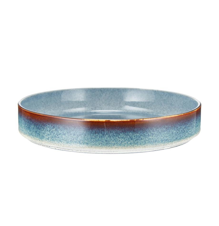 Ręcznie wykonany talerz głęboki Quintana, 2 szt., Porcelana, Niebieski, brązowy, Ø 23 cm