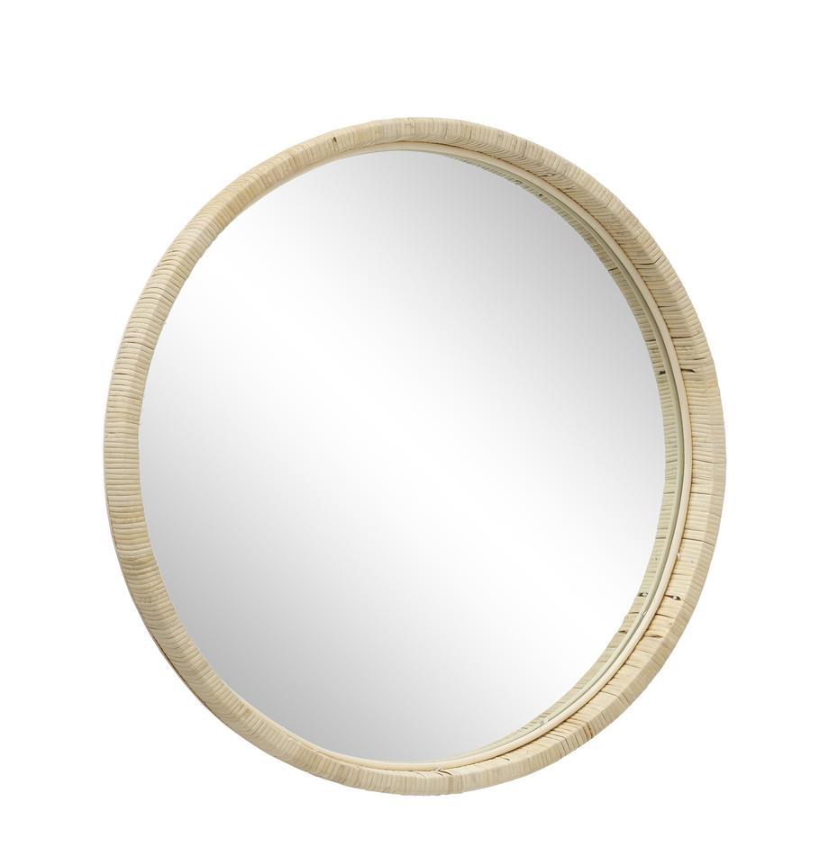Espejo de pared Yori, Espejo: espejo de cristal, Beige, Ø 50 cm
