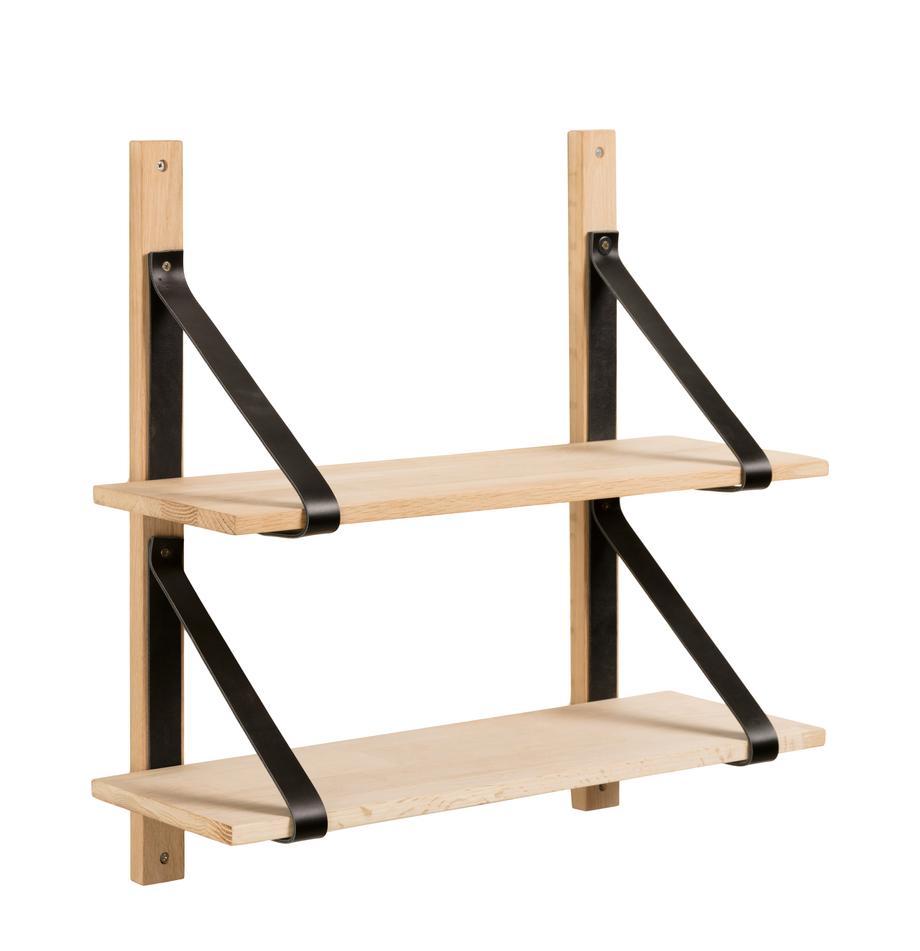 Holz-Wandregal Nazeli mit Lederhalterung, Schwarz, Braun, 60 x 60 cm