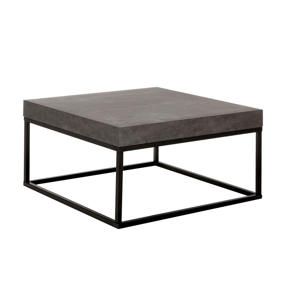 Couchtisch Ellis in Betonoptik, Tischplatte: Leichtbau-Wabenstruktur, , Gestell: Metall, lackiert, Schwarz, Betonfarben, 75 x 38 cm