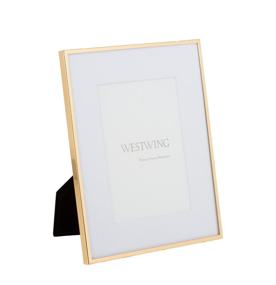 Bilderrahmen Memento, Rahmen: Eisen, hochglanz lackiert, Front: Glas, spiegelnd, Goldfarben, 10 x 15 cm