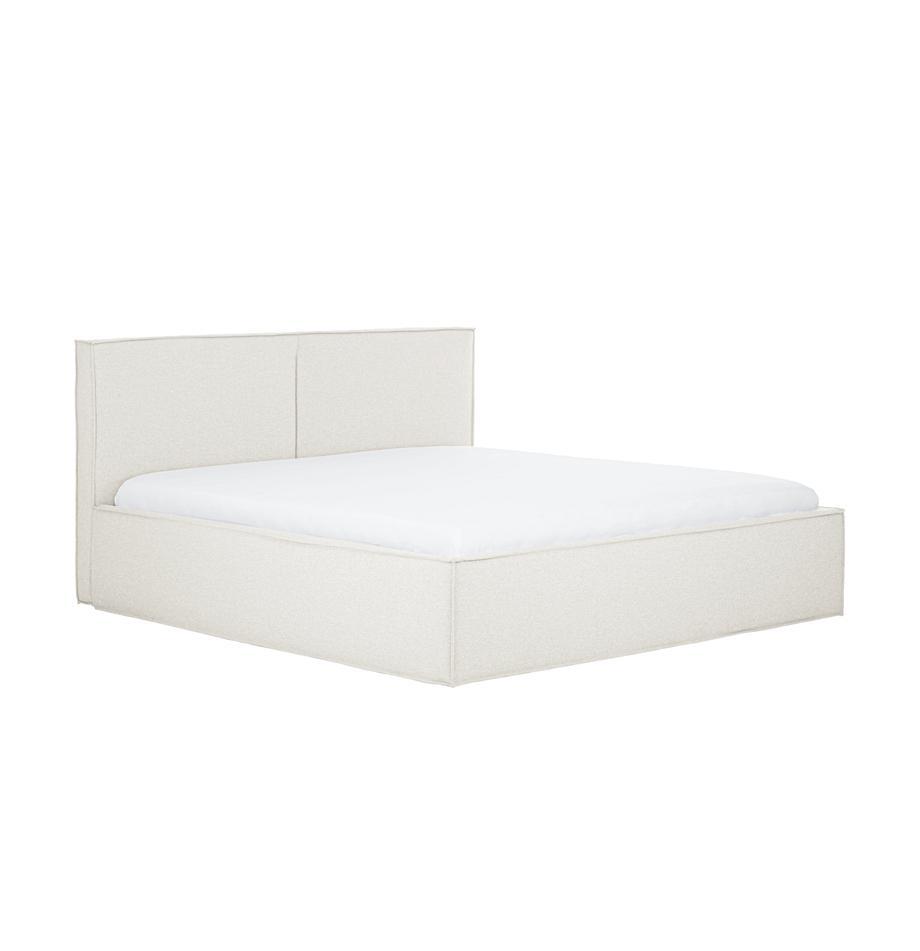 Beige gestoffeerd bed Dream met hoofdeinde, Frame: massief grenenhout en pla, Bekleding: 100% polyester (gestructu, Stof beige, 140 x 200 cm
