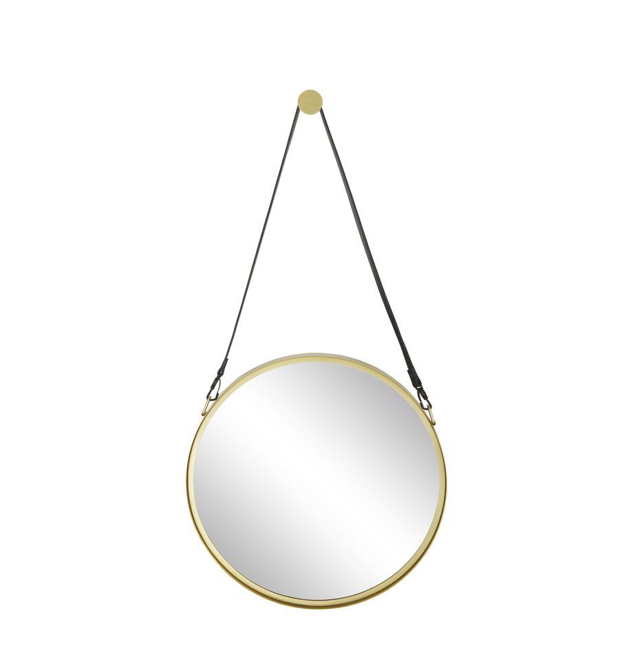 Runder Wandspiegel Liz mit schwarzer Lederschlaufe, Spiegelfläche: Spiegelglas, Rückseite: Mitteldichte Holzfaserpla, Gold, Ø 40 cm