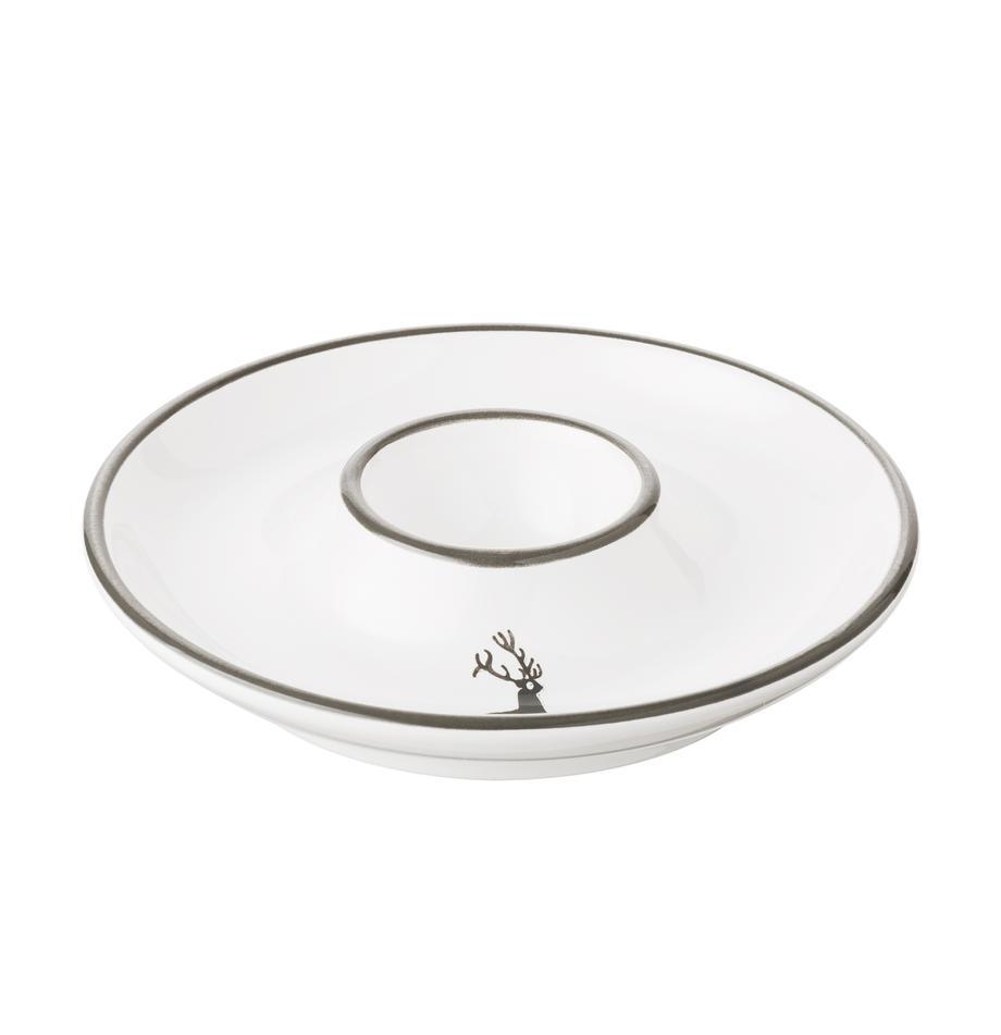 Handbemalter Eierbecher Classic Grauer Hirsch, Keramik, Grau,Weiß, Ø 12 cm