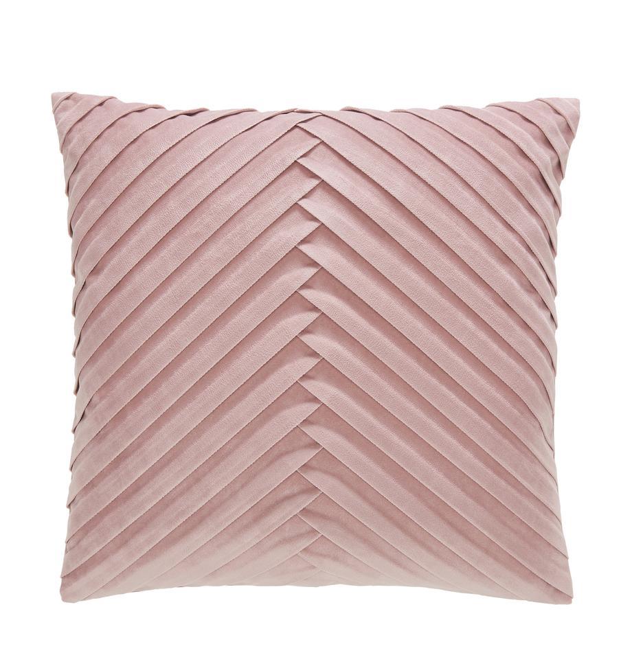 Fluwelen kussenhoes Lucie met gestructureerde oppervlak, 100% fluweel (polyester), Oudroze, 45 x 45 cm