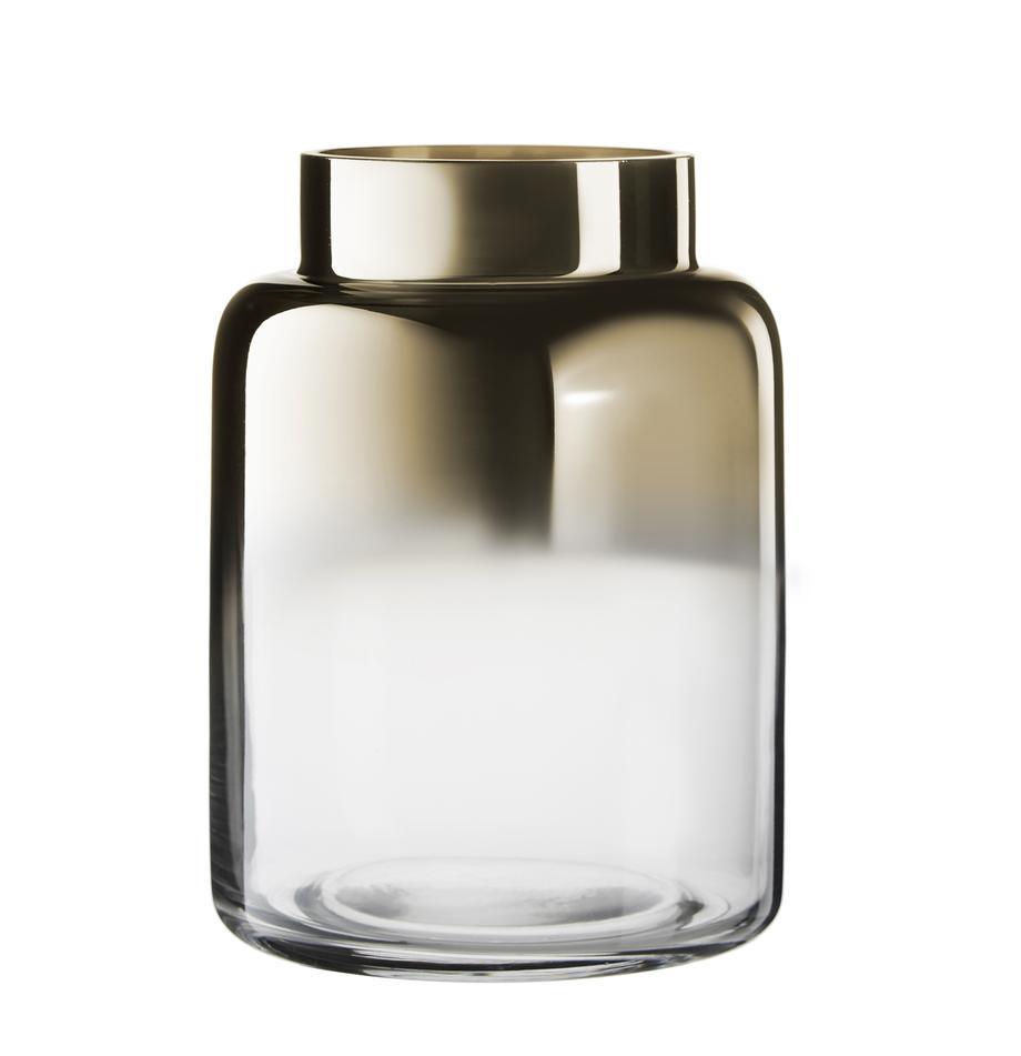 Jarrón soplado artesanalmente Uma, Vidrio, Transparente, oro, Ø 15 x Al 20 cm