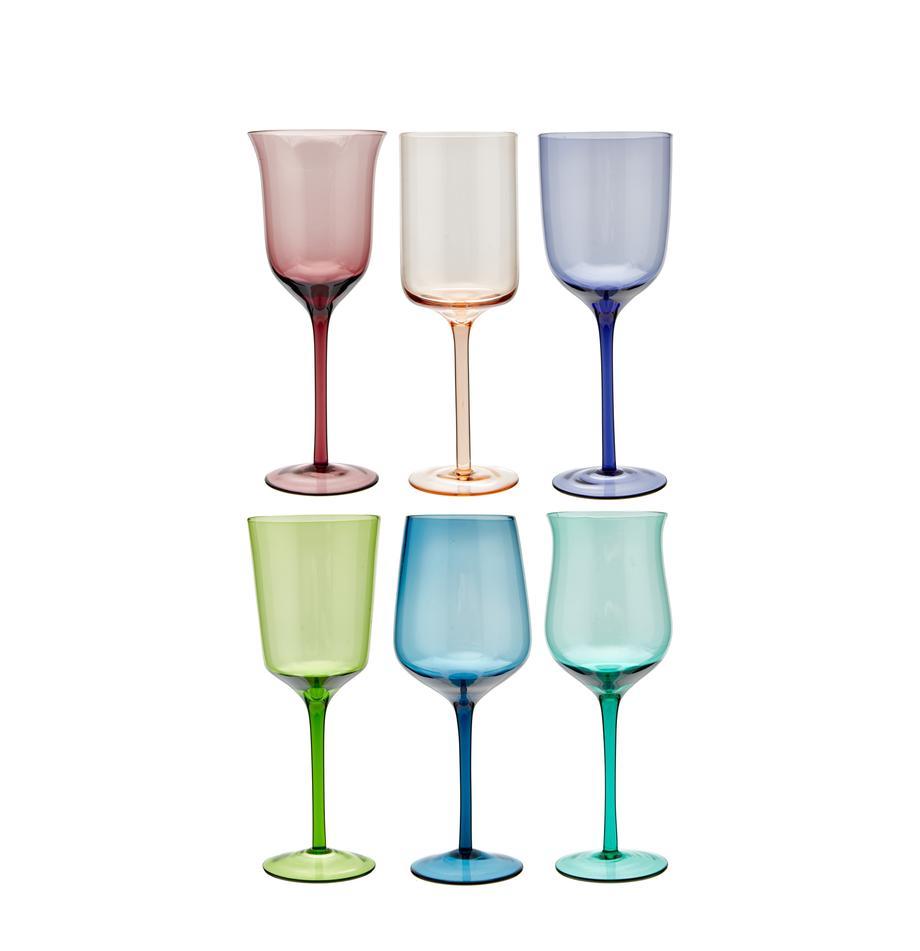 Set 6 bicchieri vino rosso in vetro soffiato Desigual, Vetro soffiato, Multicolore, Ø 7 cm
