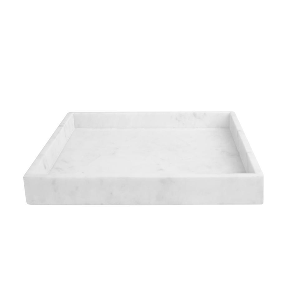 Deko-Marmor-Tablett Ciaran, Marmor, Weiß, marmoriert, B 30 x T 30 cm