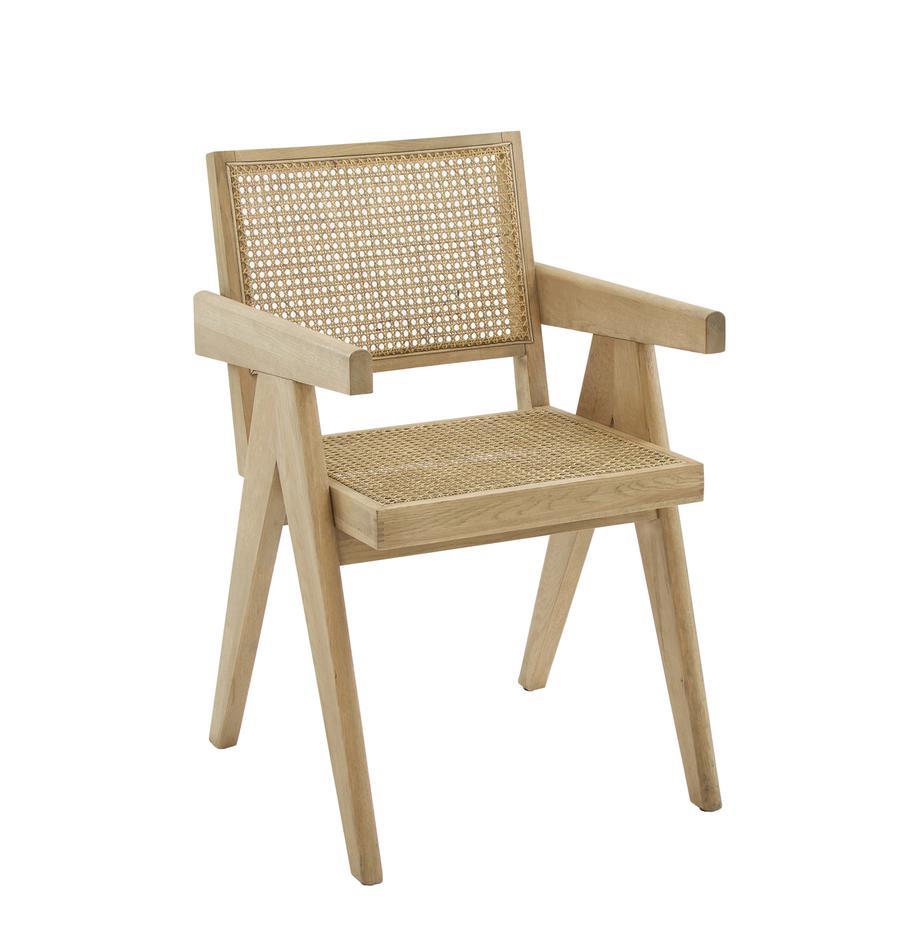 Armlehnstuhl Sissi mit Wiener Geflecht, Gestell: Massives Eichenholz, Sitzfläche: Rattan, Gestell: Eichenholz Sitzfläche: Beige, B 52 x T 58 cm