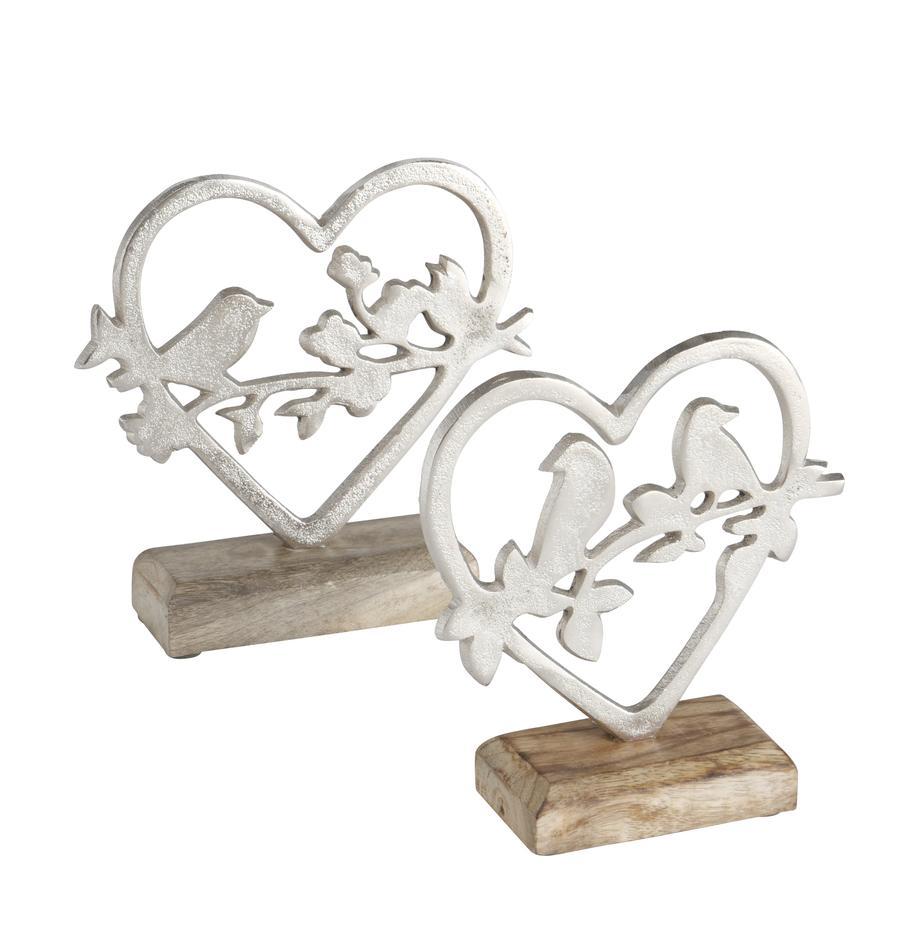 Handgemachtes Deko-Objekte-Set Loana, 2-tlg., Sockel: Mangoholz, Silberfarben, Mangoholz, 15 x 18 cm