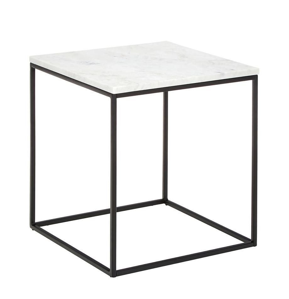 Marmor-Beistelltisch Alys, Tischplatte: Marmor, Gestell: Metall, pulverbeschichtet, Tischplatte: Weiß-grauer Marmor Gestell: Schwarz, matt, 45 x 50 cm