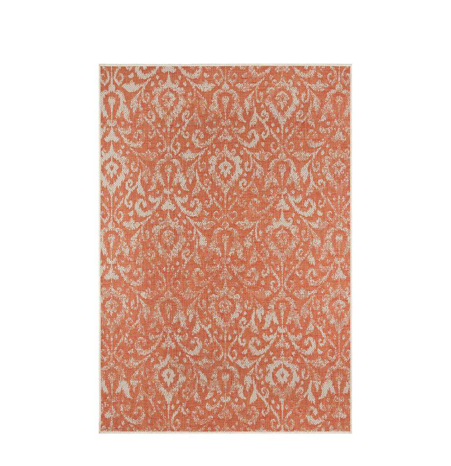 In- & Outdoor-Teppich Hatta im Vintage Look in Orange/Beige, 100% Polypropylen, Orangenrot, Beige, B 70 x L 140 cm (Größe XS)
